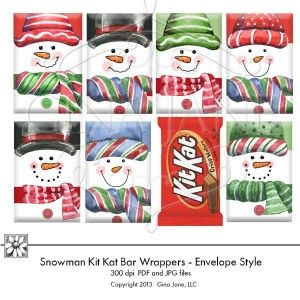 Printable Snowman Candy Wrappers for Kit Kat Bars  Makes the cutest snowman candy wrappers to give this Christmas to kids, teachers, students, friends and neighbors!  Makes an adorable stocking stuffer! DAISIE COMPANY: Clipart, Printables, Graphics, DIY Crafts for Kids, Parties, Candy Wrappers, by artist Gina Jane for DAISIECOMPANY