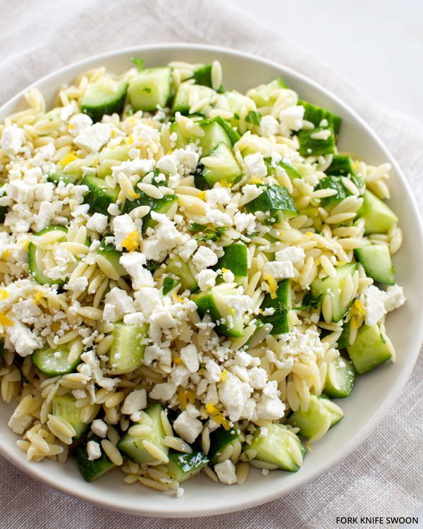 Lemony Orzo Pasta Salad with Cucumber and Feta | Fork Knife Swoon