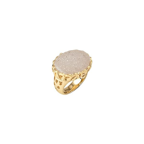 Andara Druzy Ring Andara (2.000 ARS) ❤ liked on Polyvore featuring jewelry, rings, accessories, anillos, engraved rings, 18k ring, drusy ring, druzy jewelry and cut out ring