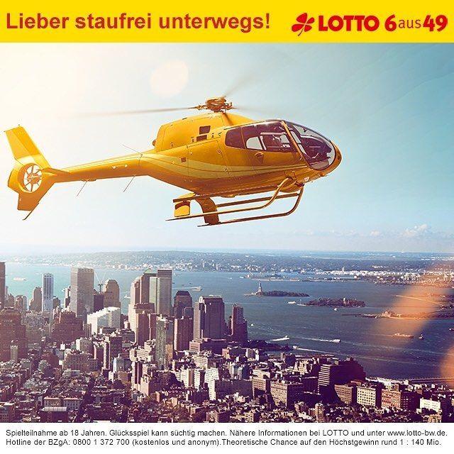 Keine Lust auf lange Staus? Lieber nach Feierabend schnell nach Hause! Mit dem 18 Mio. Euro #Jackpot von #LOTTO 6aus49 kein Problem. Zum Spiel geht's hier: www.lotto-bw.de #lotto #lotto6aus49 #ichwärsogernemillionär #enjoy #dreamyourdream #lottodraw #wannabeamillionaire #instaphoto #pictureoftheday #photooftheday #lottobw #badenwuerttemberg #stau #helikopter #flyhigh #city