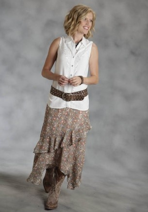 Native Essence : Ladies Western Georgette Skirt | Free Shippin' on Western Shirts