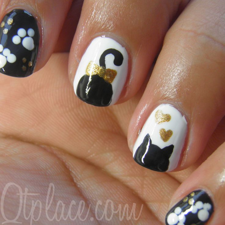 Cute Cat Silouhette Nail Art Tutorial + Pics