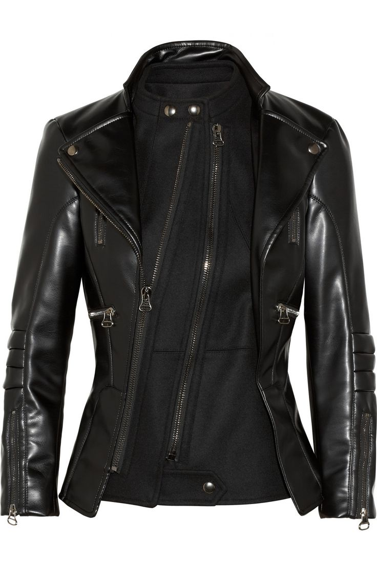 Altuzarra | Felt-paneled faux leather biker jacket | I love the design of this. But who charges $2500 for faux leather?