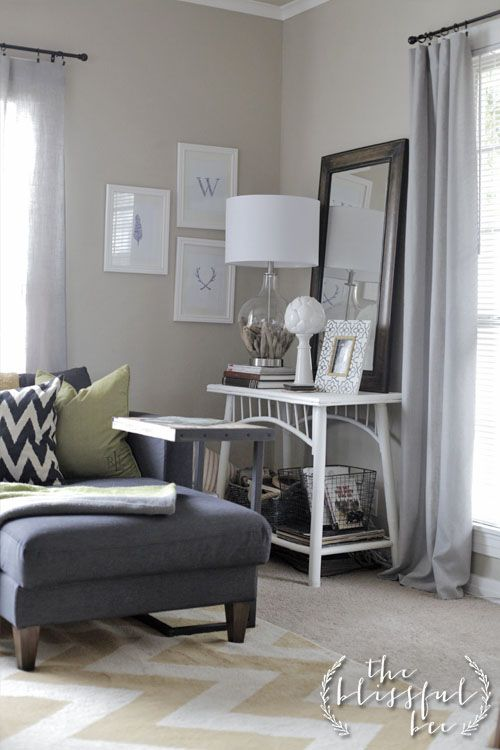 Love the sofa and side table set up. The Blissful Bee