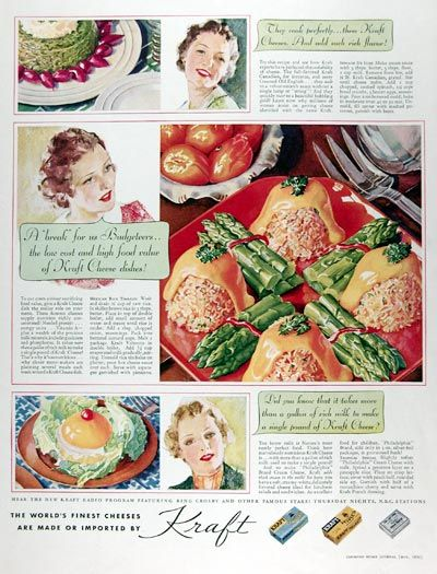 1936 Kraft Cheeses original vintage advertisement. They cook perfectly and add such rich flavor! Did you know it takes more than a gallon of rich milk to make a single pound of Kraft Cheese. With serving suggestions for Kraft Canadian Cheese, Kraft Velveeta Cheese and Kraft Philadelphia Cream Cheese.