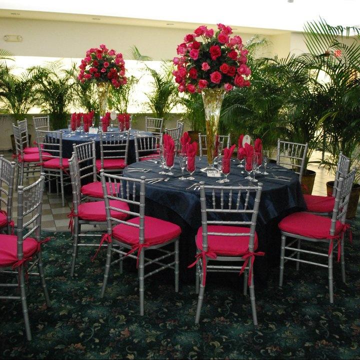 Fuchsia Cushions, Silver Chiavari Chairs, Black Linens Table Set Up, Chairs  And Linens