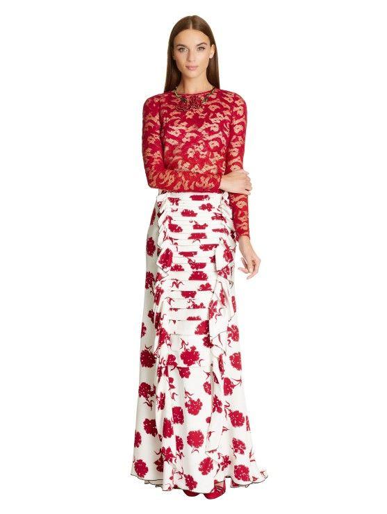 Beautiful combination  Carnation-Print Silk Crepe Skirt