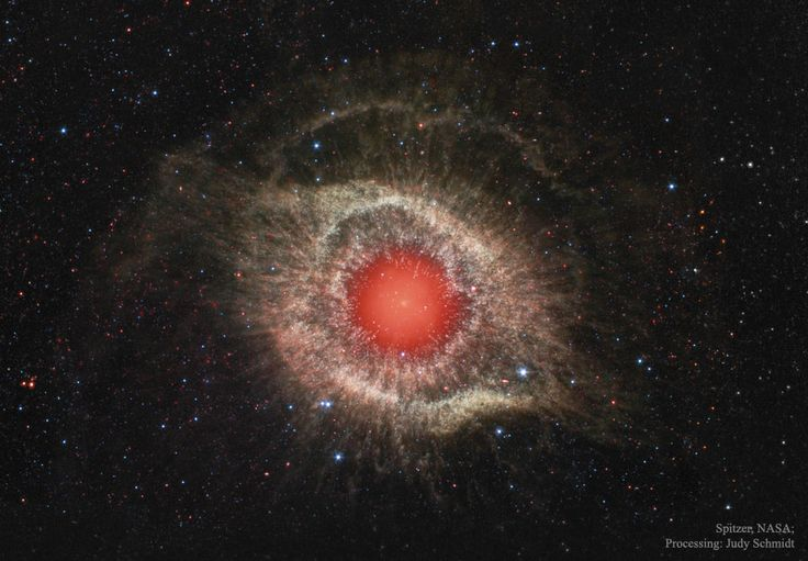 The Helix Nebula in Infrared  Image Credit: NASA, JPL-Caltech, Spitzer Space Telescope; Processing: Judy Schmidt