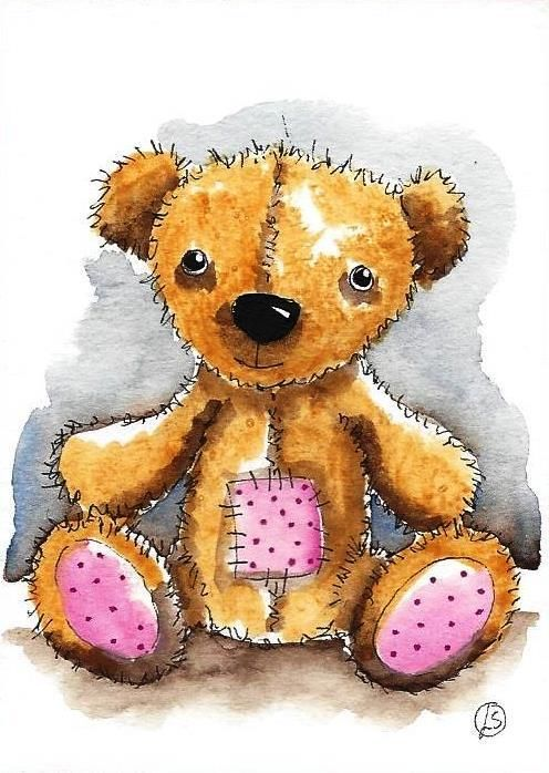ACEO Original watercolor painting whimsical teddy bear with patch work tummy #IllustrationArt
