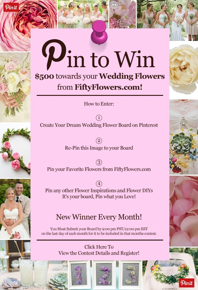 Enter to Win $500 towards your Wedding Flowers from FiftyFlowers.com! Click Here to Enter!