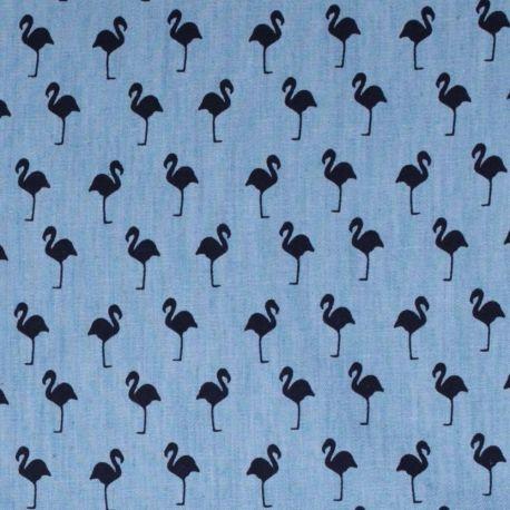Tissu coton fin aspect jean flamant -  Bleu et bleu marine