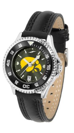 Iowa Hawkeyes Competitor Ladies' AnoChrome Watch with Leather Band and Colored Bezel