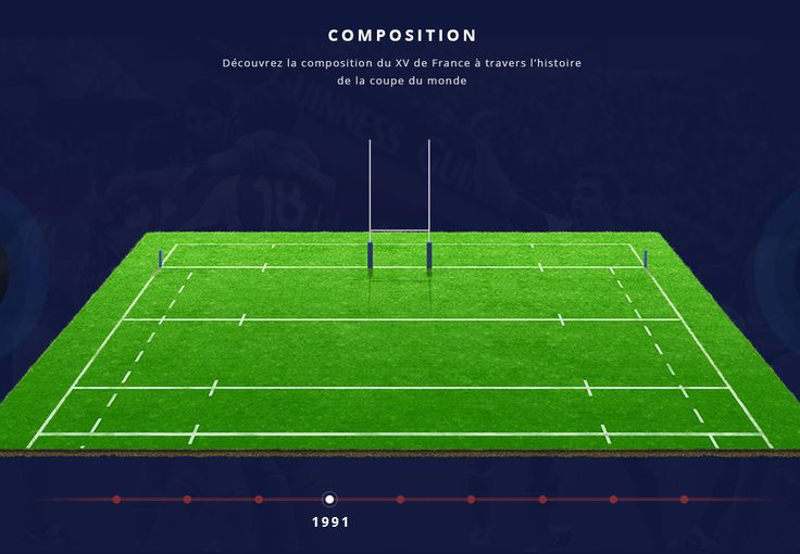 """""""Who's stronger than us?"""" is a website designed to prepare the Rugby World Cup and to promote the brand image of FFR (Fédération Française de Rugby). Here a view of the rugby field, where players will be positioned."""