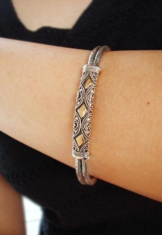 Balinese tribal silver bracelet in gold plated