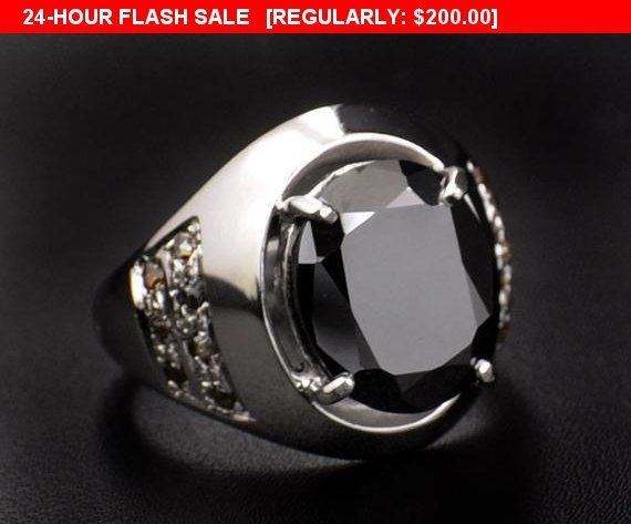 5ct Oval Shape Black Diamond Solitaire Men S Ring In Heavy Setting