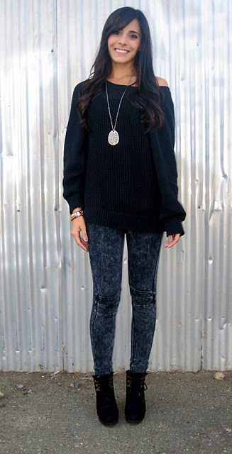 Dark grey acid wash jeans with black sweater