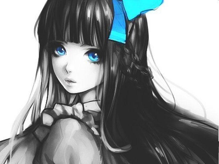 women blue eyes long hair black
