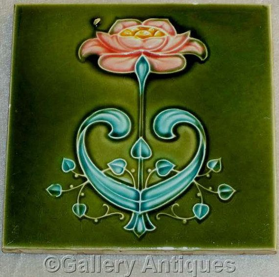 Rare antique Art Nouveau pink and teal Floral Embossed Majolica Ceramic Patent…