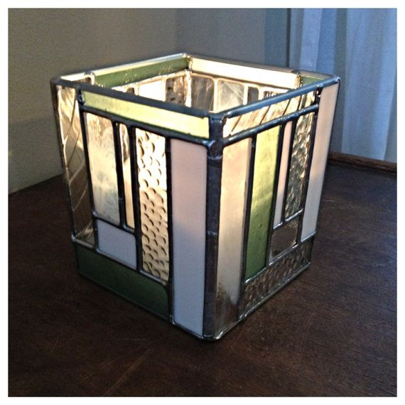White and light green stained glass candle holder