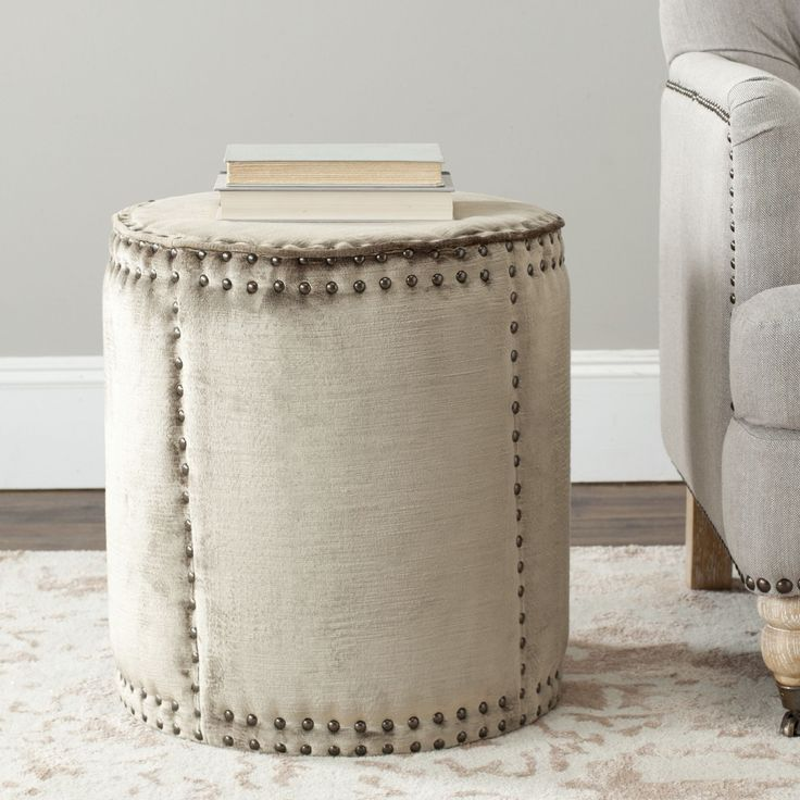 The Rustic Chic Paula Ottoman Complements Contemporary And Transitional  Interiors With Its Tall Drum Shape