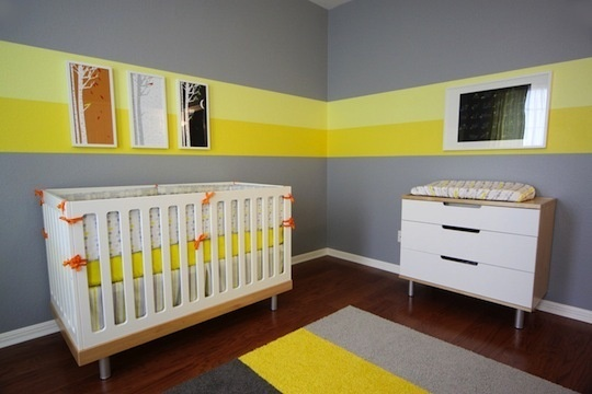 color band for z's room: Yellow Stripes, Paintings Ideas, Grey Nurseries, Wall Stripes, Rooms Ideas, Gender Neutral, Baby Rooms, Nurseries Ideas, Kids Rooms