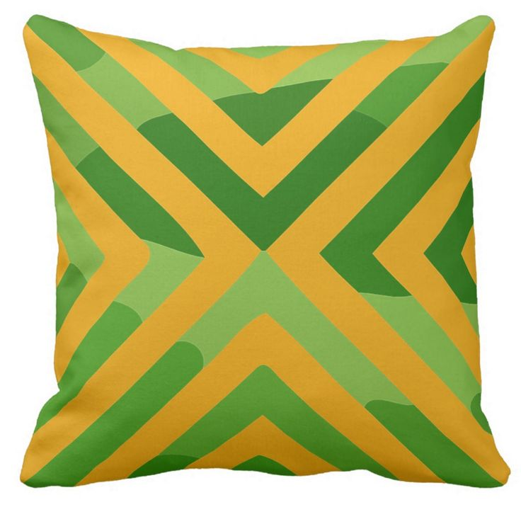Gold on  green has been a very popular twin of colours for a long time. I think these diagonals look just fine on this cushion. Suit your decor? A gift for your friends?