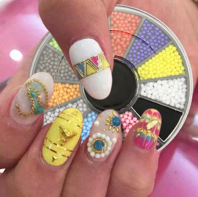 12 Candy Colors 1.5mm Particles Acrylic Nails Beads Wheel Glitter Charms 3D