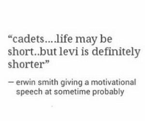Cadets...life may be short...but Levi is definitely shorter, Erwin Smith giving a motivational speech at sometime probably, funny, text, Erwin; Attack on Titan