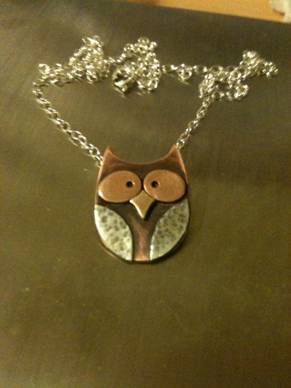 http://www.etsy.com/shop/LJKjewellery Tiny Owl Copper and Sterling Silver Pendant via Etsy