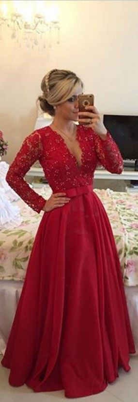 Prom Dress,Sexy Prom Dress,Dee V-Neck Prom Dress,Full Sleeve Prom Dress, Red Prom Dress,Prom Dress 2015,Prom Gown,Long Prom Dress,Beaded Prom Dress
