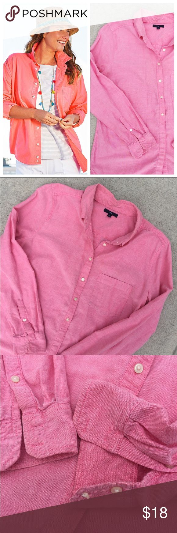 GAP • Women's Oxford Button Down Women's size L button down oxford shirt. Missing two button on the right sleeve and one on the left is cracked, but the shirt has two extra buttons on the inside, or the shirt sleeves can be rolled. A pretty red/pink color. Perfect for layering GAP Tops Button Down Shirts