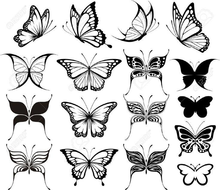 Conjunto De Mariposas Siluetas Aisladas Sobre Fondo Blanco Ilustraciones Vectoriales, Clip Art Vectorizado Libre De Derechos. Pic 8978517.