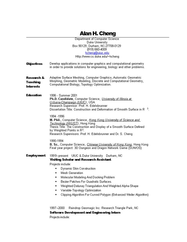 13+ Computer science resume template word Format
