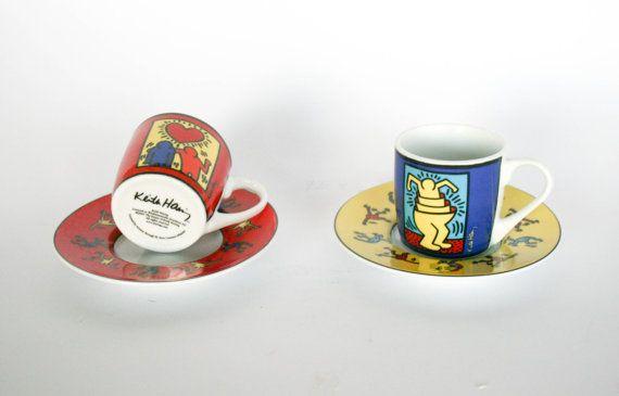 VENDITA  Vintage Set di tazze di Keith Haring Coffe di DoubleRandC