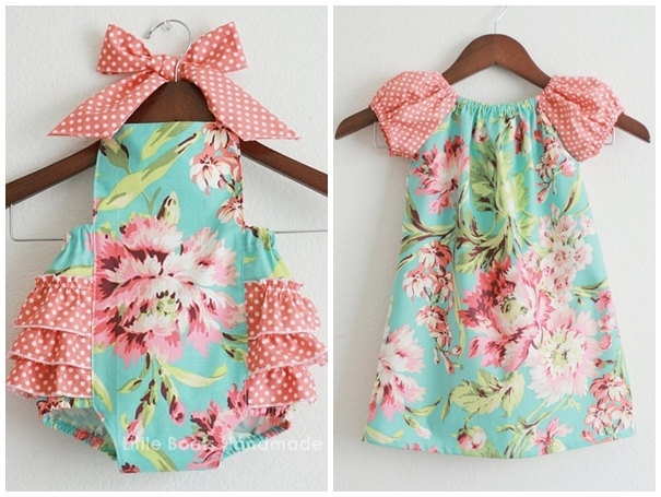TWO piece Matching Sibling SET - Big sister Flutter Dress and Little sister Sunsuit / Bliss Bouquet. $68.00, via Etsy.