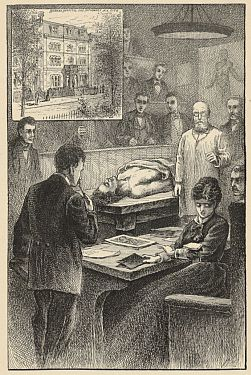 Illustration of an incident in the operating room during Elizabeth Blackwell's medical school education, in Our Famous Women, 1884.