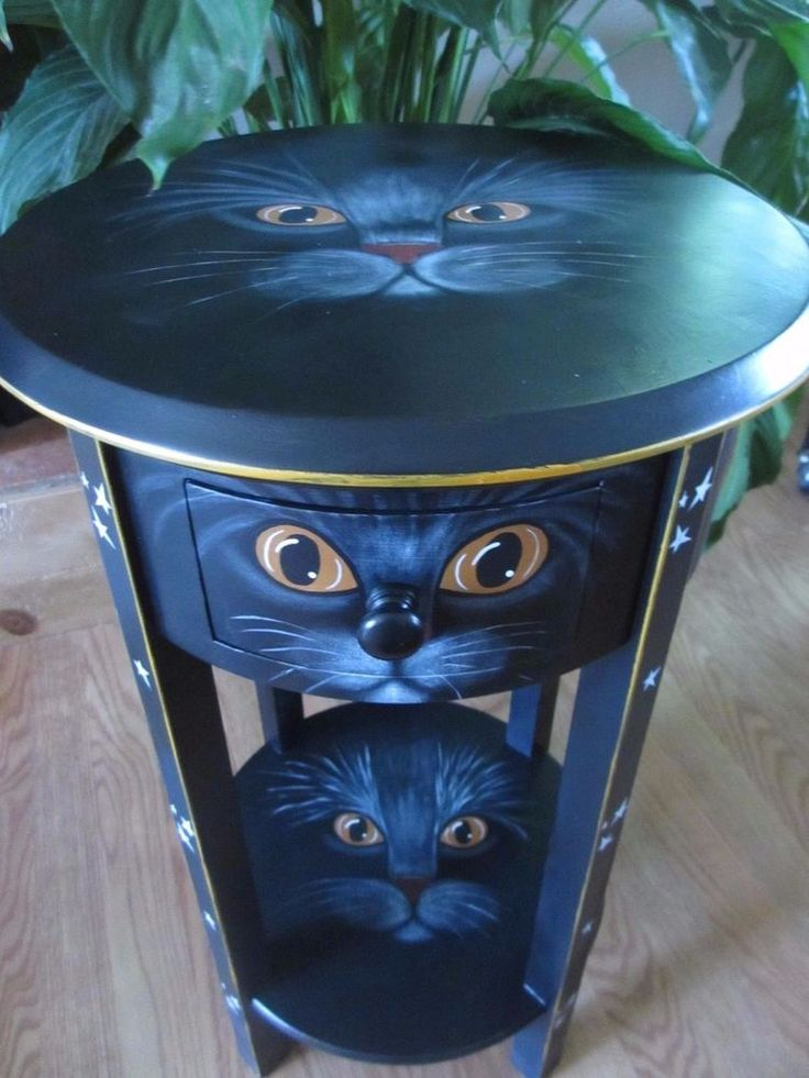 """OOAK*Hand Painted* Wooden Side/End Table w/Drawer* Halloween* Black Cat* 25 1/4"""""""