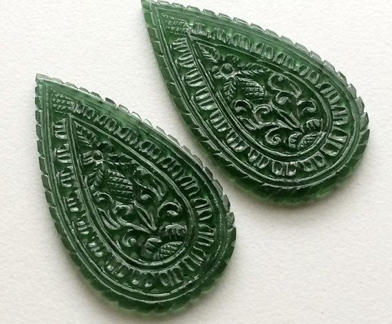 Serpentine Filigree Hand Carved Matched Pairs by gemsforjewels