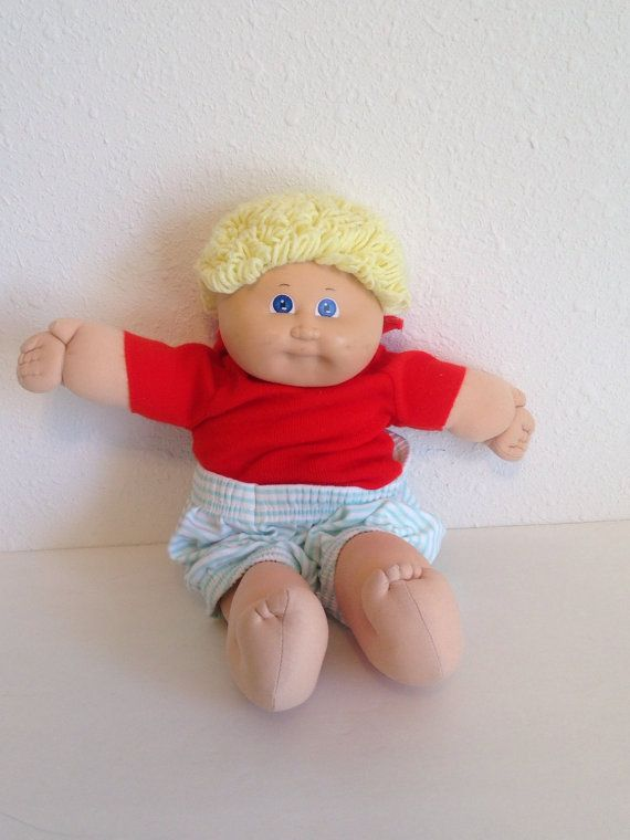 Vintage Cabbage Patch Doll, Blond Hair, Blue Eyed Boy Cabbage Patch