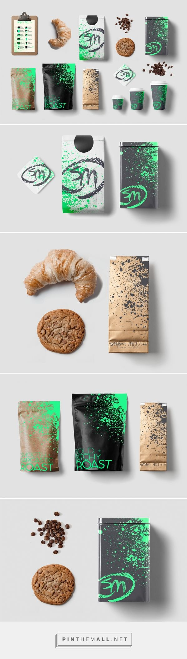 Smart Mouth Coffee Roasters Brand Identity on Behance by Yael Safirstein curated by Packaging Diva PD. Coffee packaging that talks back. Don't let the dark cups and neon paint splatter scare you. Designed for anyone who enjoys a well made cup of coffee - while this design encourages you to be your most audacious, undaunted self. Without apologies.