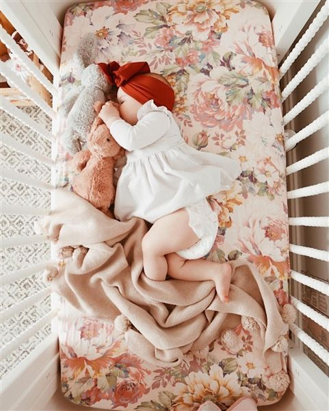 Couture Cot Sheet in Blowsy Blooms - Tilly & Otto - Sydney 2018 Products