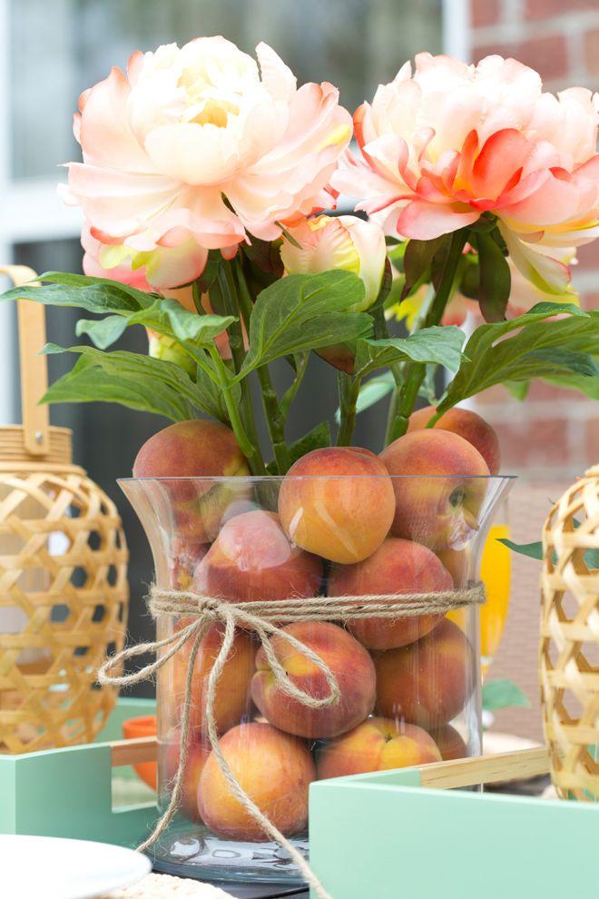 Peach Cheio Vaso com peônias pêssego