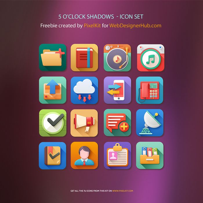 Freebie: 5 O'Clock Shadows Icon Set. Free PSD