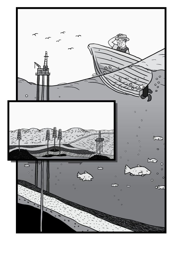 Undersea cross-section view of boat on water, with fish visible beneath the boat. View of man in boat on ocean's surface with oil rig in background. Image from Stuart McMillen's comic Peak Oil (2015), from the book Thermoeconomics (2016).