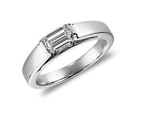 Horizontal Emerald Cut Ring! I would probably want a thinner band and a different gem.