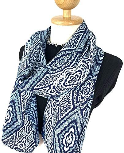 New Winter Scarf Sun Protection Hand Weaved Indigo Dyed Natural Fiber Soft Touch Scarf Women Men (#04) online   – Womens Scarves