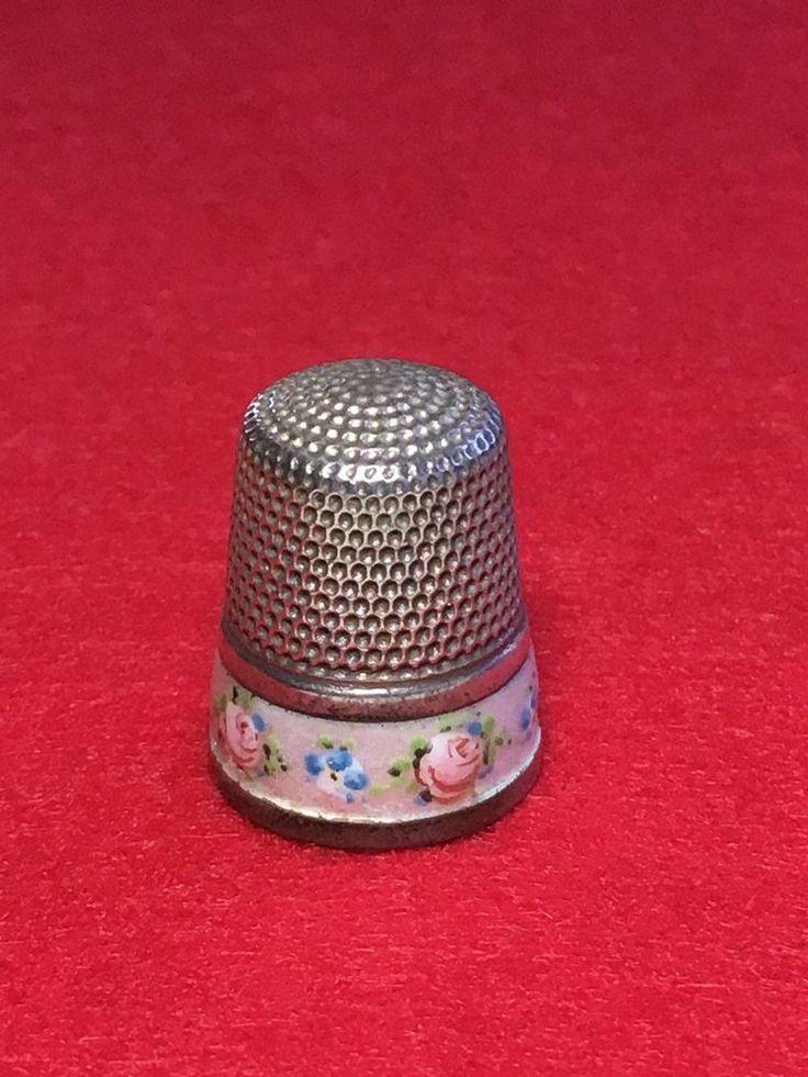 Fingerhut Silber Emaille Simons USA Thimble Silver Enamel