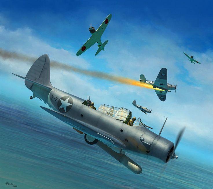 Douglas TBD Devastator, Battle of Midway, June 4 1942, by Jerry Boucher