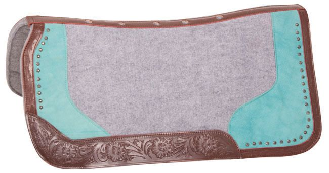 TURQUOISE GRAY WOOL FELT LEATHER CONTOUR THERAPEUTIC WESTERN HORSE SADDLE PAD #1Saddle