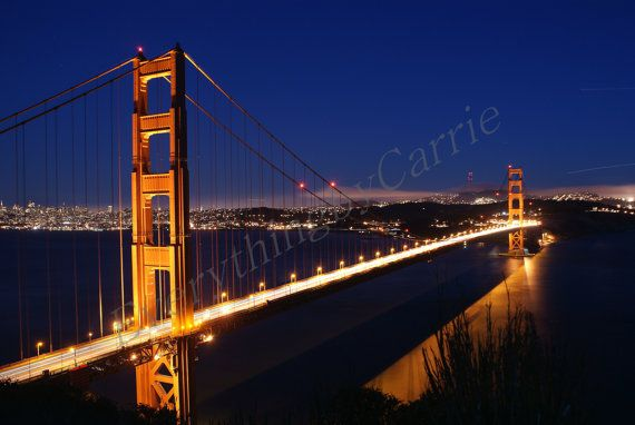 Golden Gate Bridge at Night.  Color photographic print.  Choose your desired size and finish.